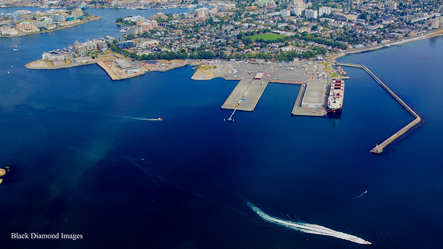 View over Ogden Point & Victoria Cruise Boat Port - Seaplane Flight, British Columbia, Canada