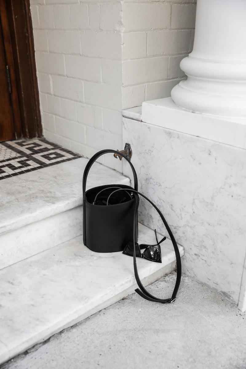 balenciaga logo tee t shirt street style fashion blogger minimal Ellery Kool Aid check pants staud bucket bag pointed flats Instagram (6 of 6)