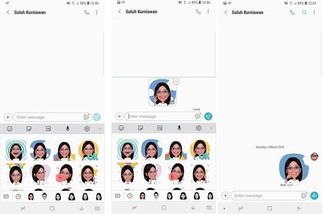 Stiker GIF hasil AR Emoji saat dibagikan ke pengguna lain melalui pesan (Liptan6.com/ Agustin Setyo W)