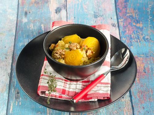 Gelbe-Bete-Quinotto mit Ziegenfrischkäse und karamellisierten Walnüssen (2)