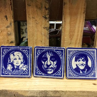 The new marble tiles arrived #bluedelft #henribanks #marble #italianmarble #berlin #creativegifts #iggypop #dollyparton #alicecooper