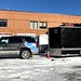 Health Partners Paramedic Supervisor Tahoe and EMS trailer at Lakeview Hospital in Stillwater, MN