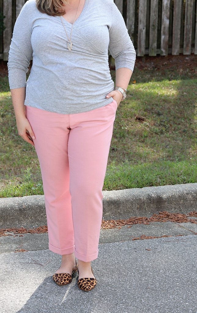 pink dress pants, gray wrap shirt, leopard flats 5