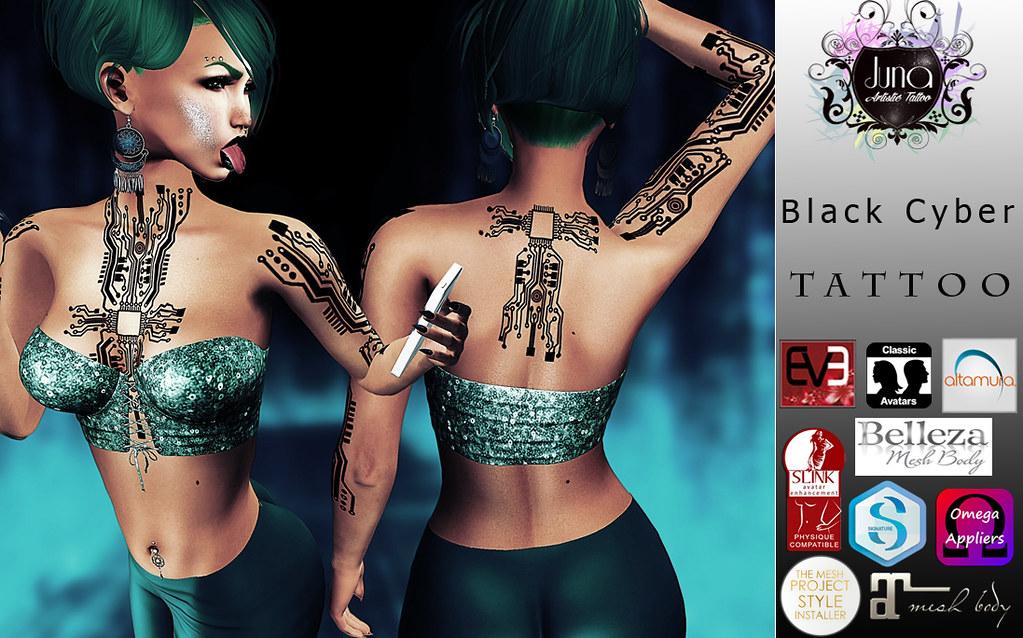 Black cyber tattoo