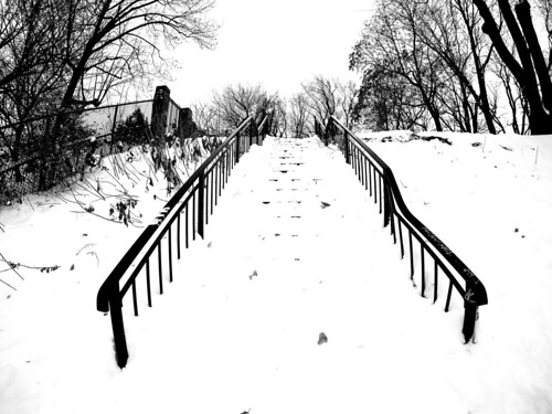 Parc La Fontaine Stairs Covered in Snow