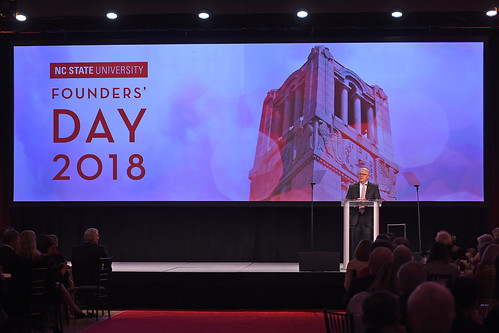Chancellor Randy Woodson welcomes everyone to the Founders' Day dinner and 2018 Watauga Medal ceremony in Talley Student Union.