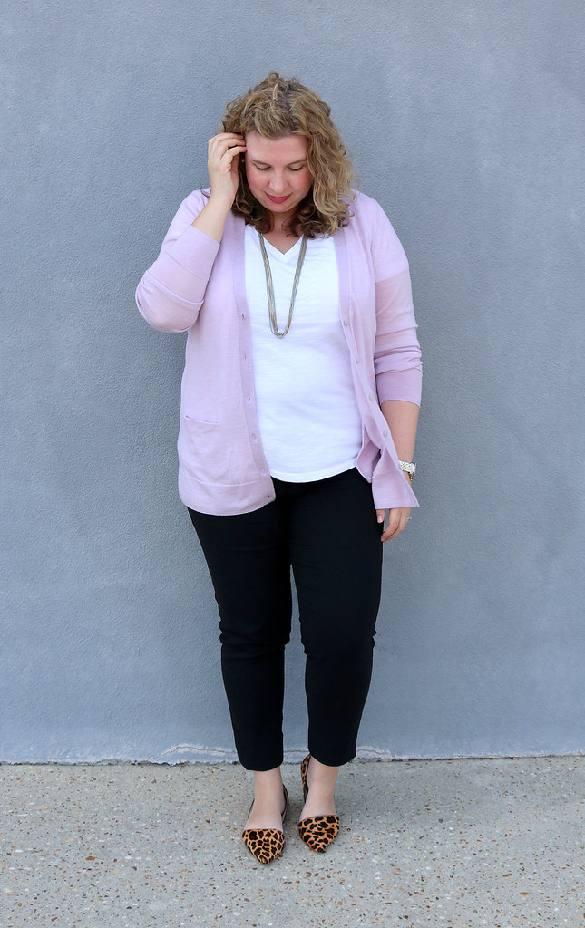 lilac cardigan, white tee, black pencil pants, leopard flats 6