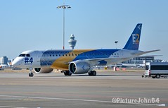 First visit of Embraer S.A. Embraer ERJ190 E2 (PR-ZGQ) prototype at Schiphol East
