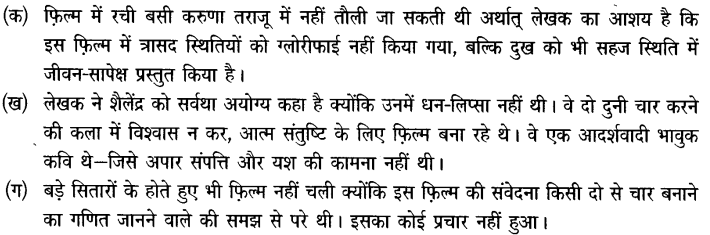 Chapter Wise Important Questions CBSE Class 10 Hindi B - तीसरी कसम के शिल्पकार शैलेंद्र 16a