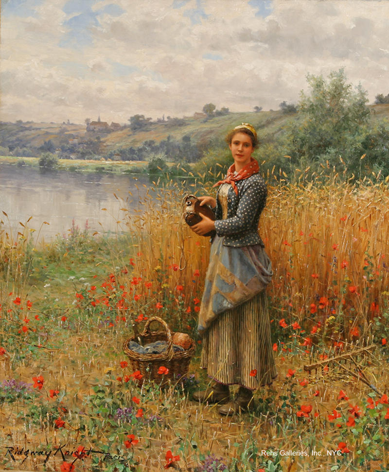 Madeleine in a wheat field by Daniel Ridgway Knight. Image courtesy of Rehs Galleries, Inc., NYC