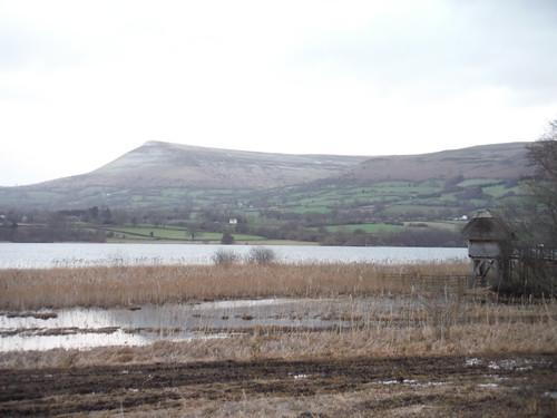 Mynydd Troed and Bird Hide on Lake Llangorse