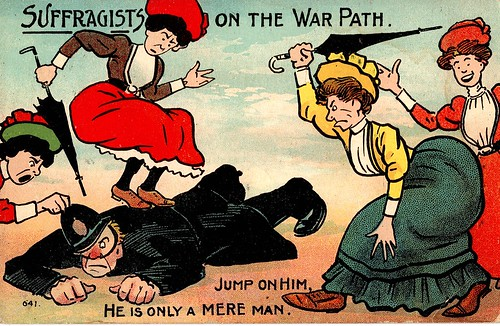 Anti-suffrage postcard: Suffragists on the warpath