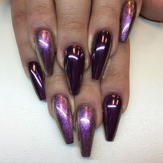 Beautiful Long Acrylic Chrome Nails 2018 Fashionre