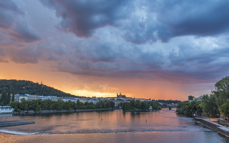 Prague just before a lightning storm at sunset