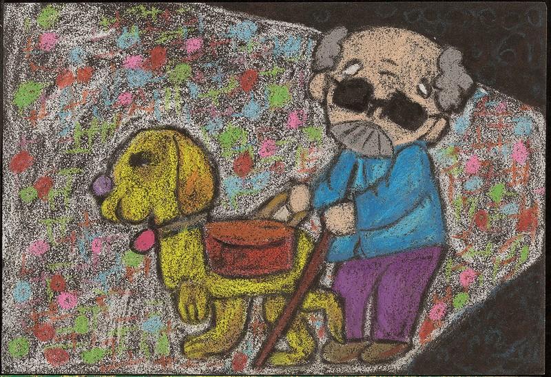 A dog trotting alongside an elderly man with a walking stick