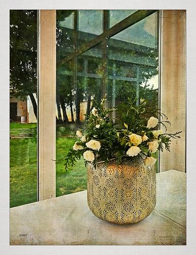 Un jarrón con flores sedientas y en la calle lloviendo a mares