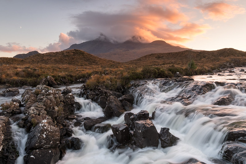 Sligachan Waterfall at Sunset
