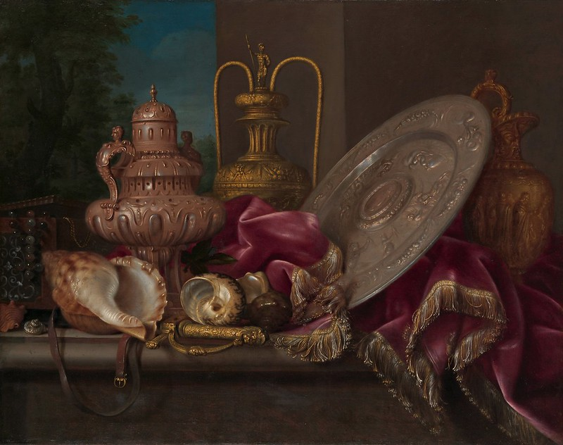Meiffren Conte - Still Life with Silver and Gold Plate, Shells, and a Sword