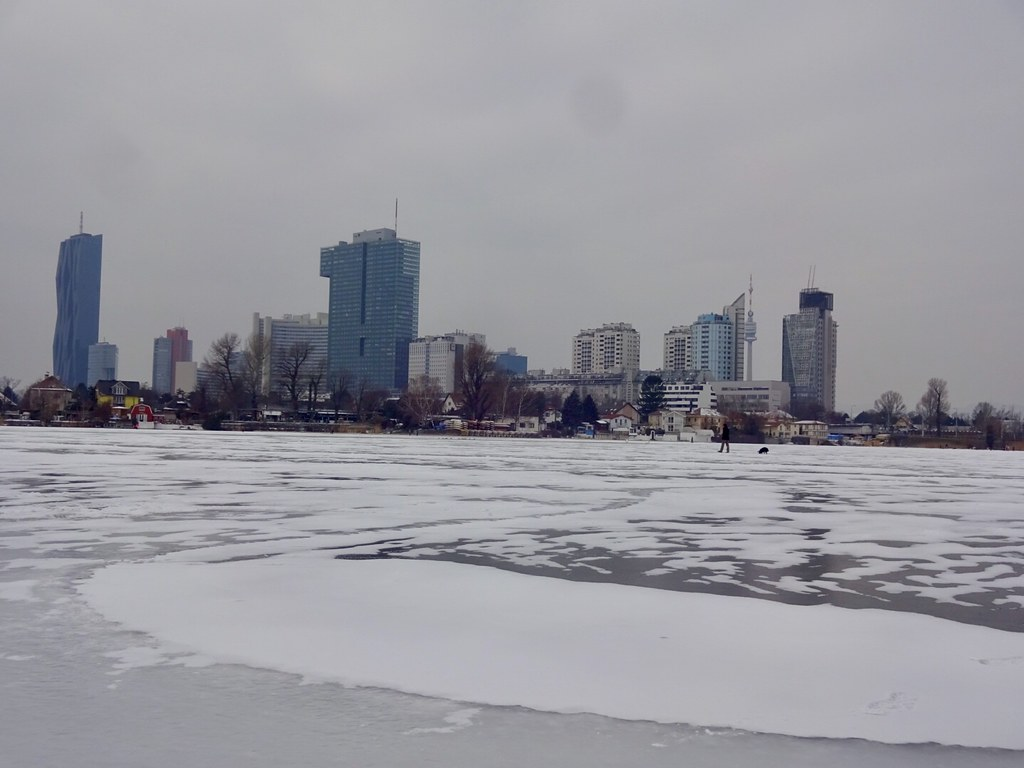 Eis auf der Alten Donau