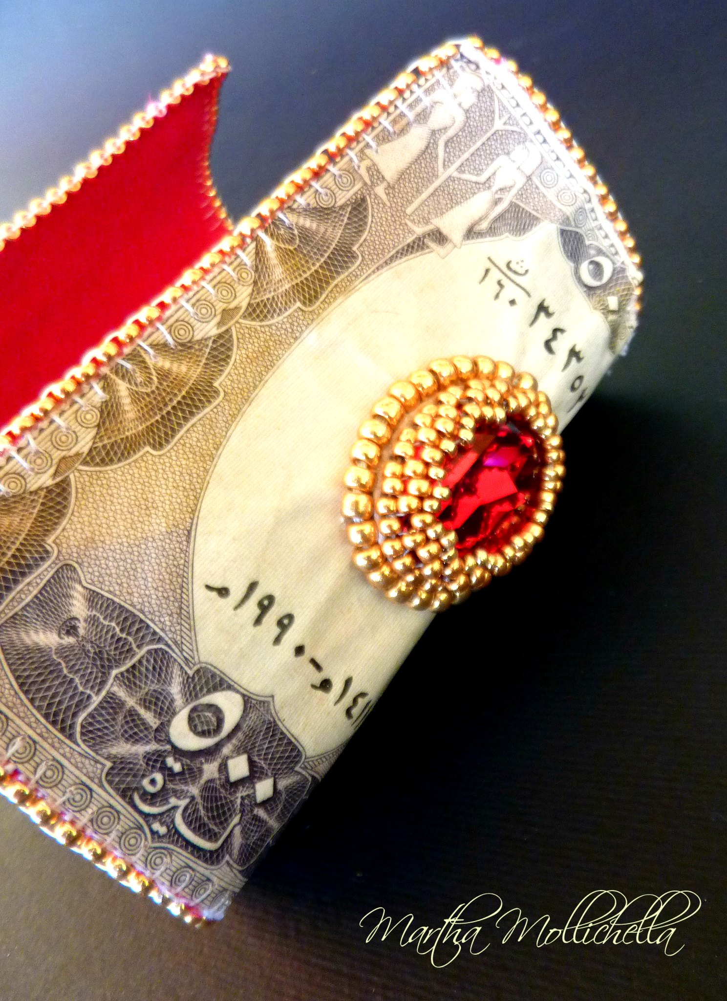 numismatic jewels Syria banknotes embroidered Numismatic Jewels by Martha Mollichella special money jewelry coins and banknotes handmade in Italy