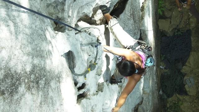 Sheila rock climbing