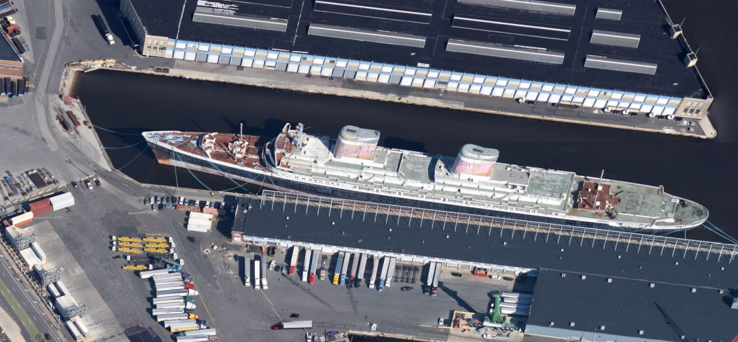 Aerial view of SS United States in Philadelphia, Pennsylvania, on September 3, 2012.