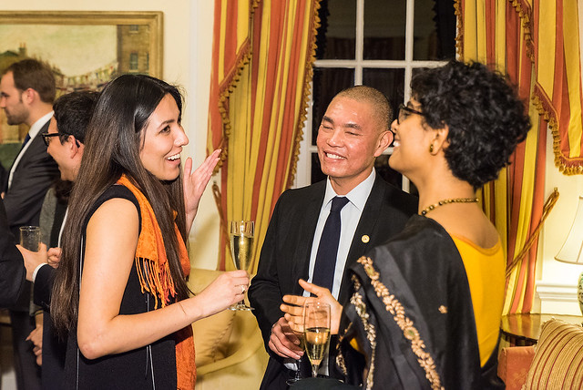 ISH Resident Scholars Mariel and Meghna, Ming Dang - 2017 Tribute Dinner at the Residence of the British Ambassador