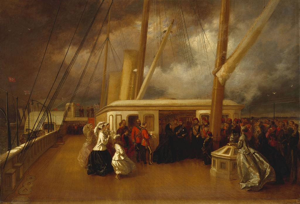 Queen Victoria and Abdülaziz of the Ottoman Empire on the Royal yacht in 1867 during the Sultan's official visit to United Kingdom. The ceremony took place on board the Royal Yacht Victoria and Albert during the naval review, held in appalling weather, in honour of the Sultan Abd-ul-Aziz who had succeeded his brother Abd-ul-Mejid as Sultan in 1861. The Sultan was, in the Queen's words 'very uncomfortable' at sea and 'was continually retiring below'. The Queen noted that the Sultan received the Garter 'which he had very much set his heart upon, though I should have preferred the Star of India'. In the painting the Queen is investing the Sultan with the insignia of the Order. Behind her on the left stand the Prince of Wales, the Duke of Cambridge, Prince Arthur, Prince Leopold, Prince Louis of Hesse and Princess Beatrice, with three Ladies in Waiting. The Sultan's little son stands near him.