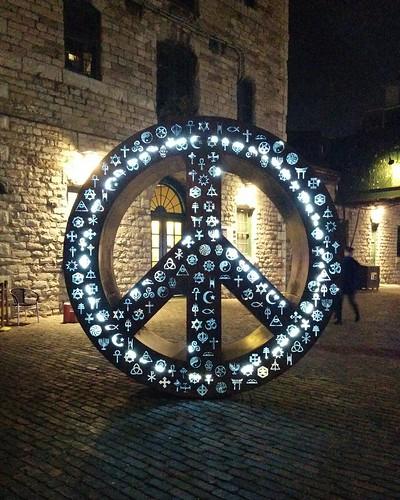 Symbolic Peace #toronto #distillerydistrict #tolightfest #symbolicpeace #mathewrosenblatt #peacesign #latergram