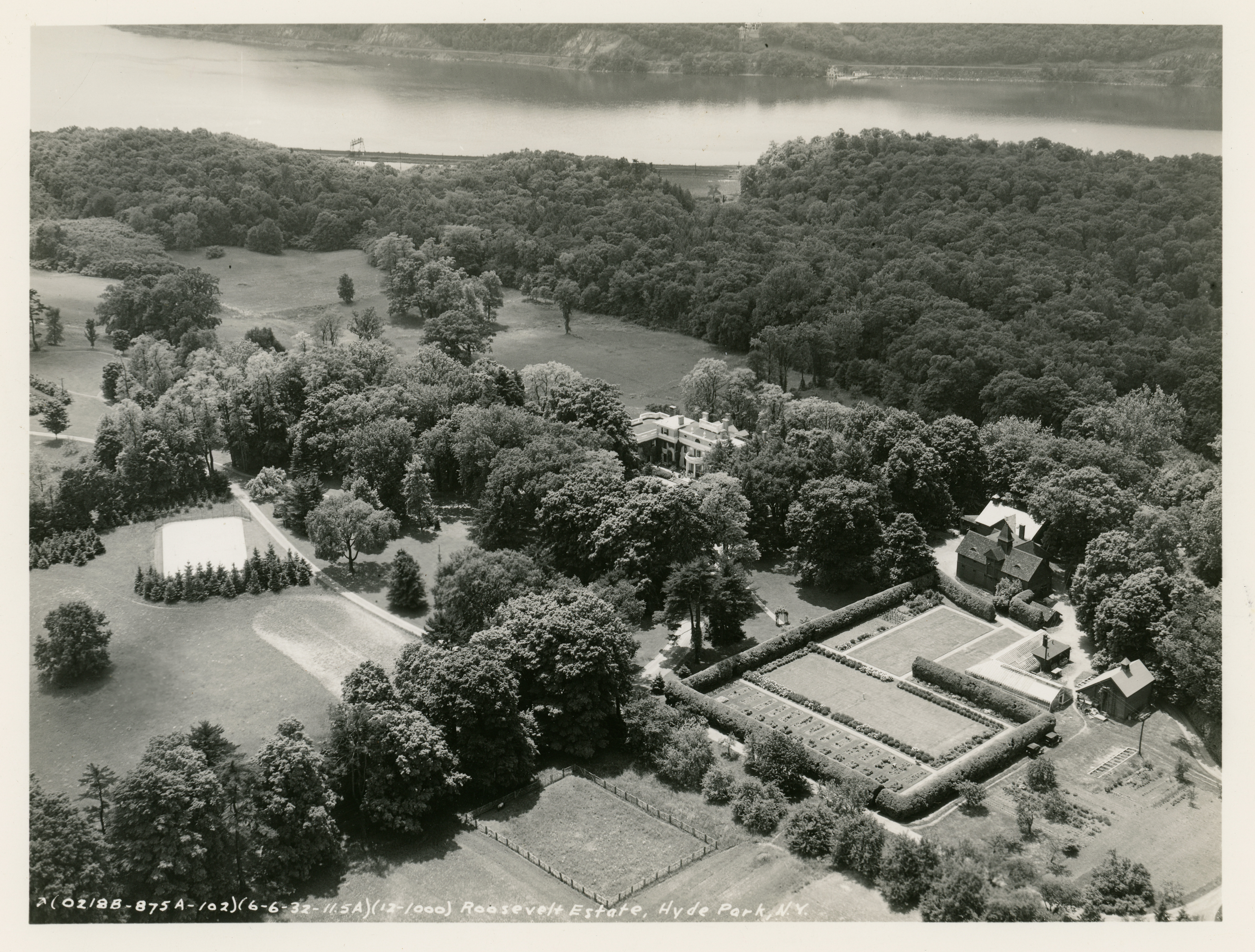 Aerial view of the grounds of Springwood, the Roosevelt family estate in Hyde Park, New York.