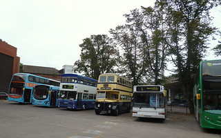A varied line up of buses at NX Coventry garage, in 2013