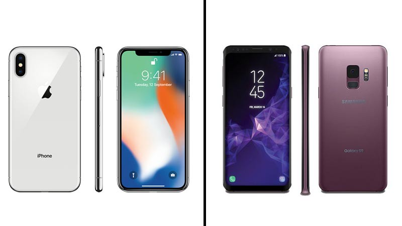 Apple iPhone X (kiri) dan Samsung Galaxy S9