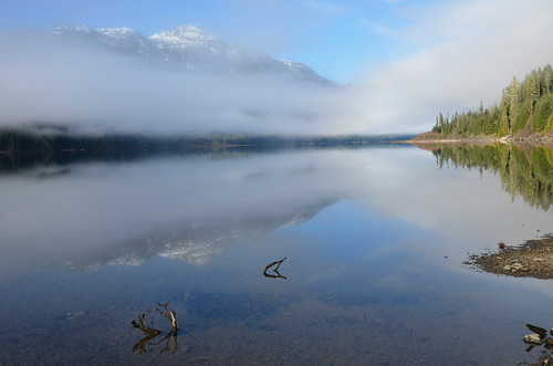 Buttle Lake - fog lifted