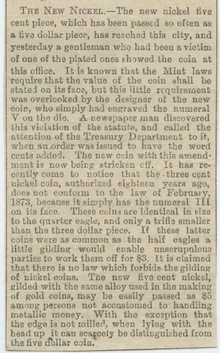 1883 Article on the No Cents V Nickel