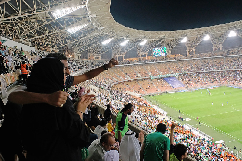 Saudi women attend football match