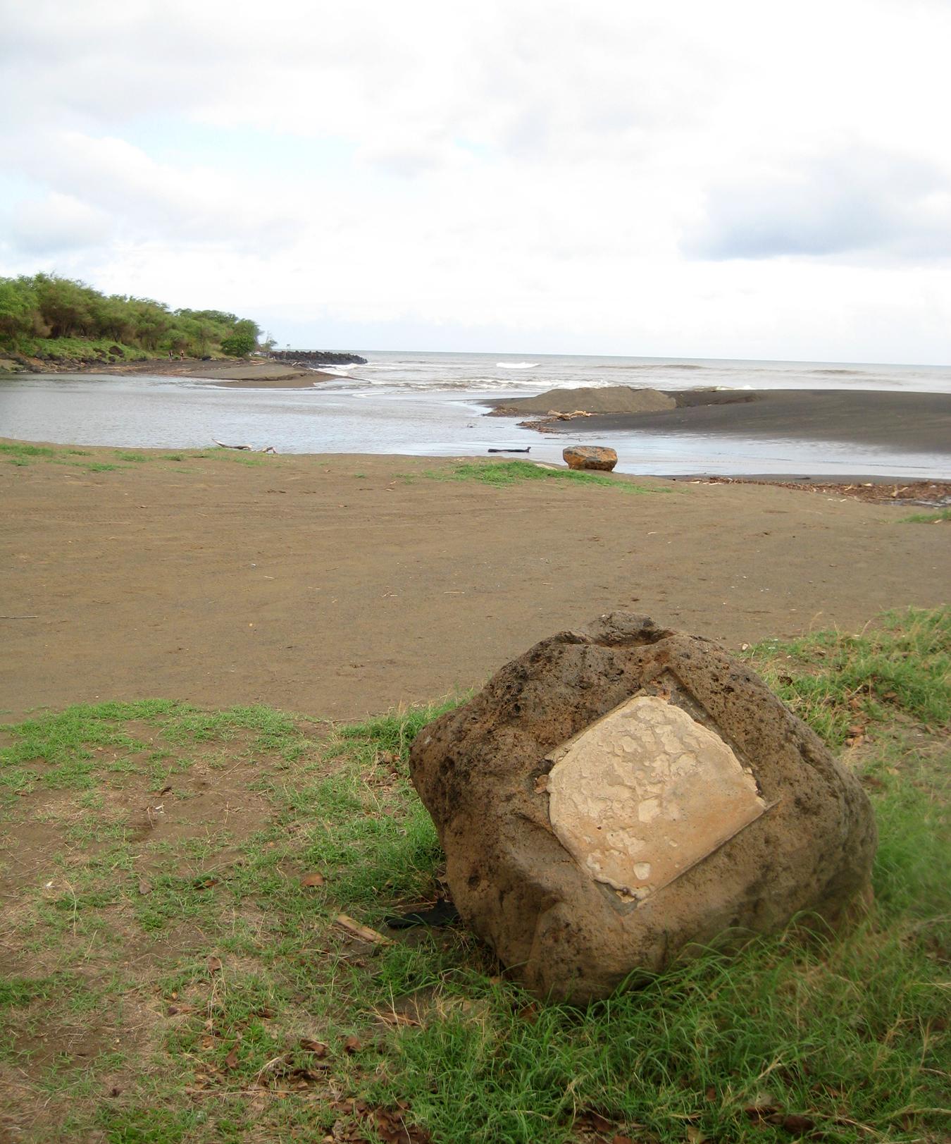 Stone marking Cook's landing at Waimea Bay, Hawaii, in January 1778. Photo taken on August 20, 2009.