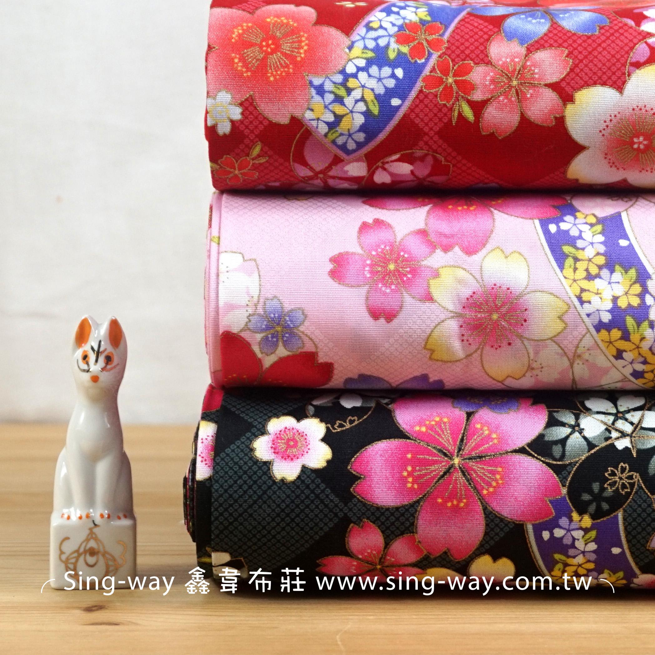櫻花盛放 日式和風燙金邊花卉 節慶佈置 紅包袋 手工藝DIy拼布布料 CA450716