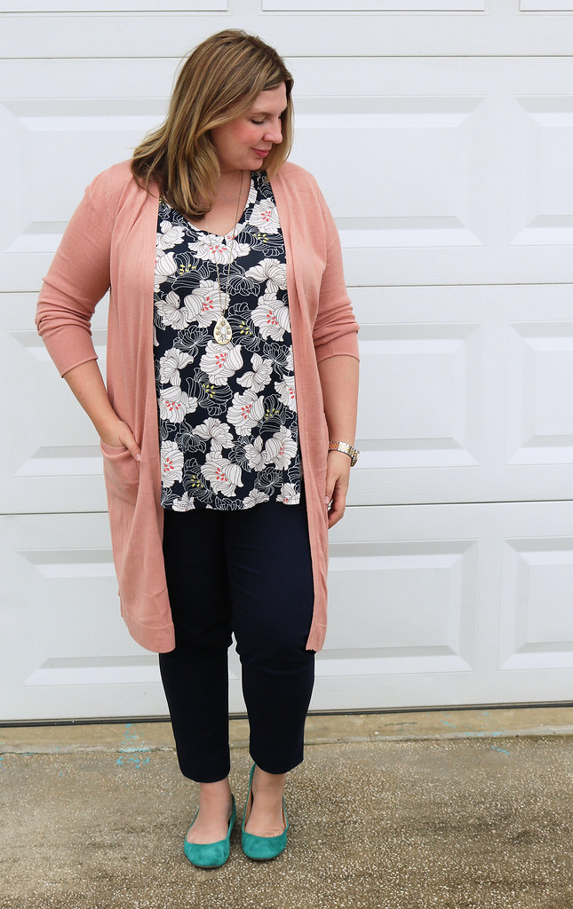 long rose cardigan, navy floral top, navy pencil pants, teal flats 1