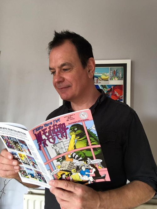 David Gedge with a comic book circa December 2015