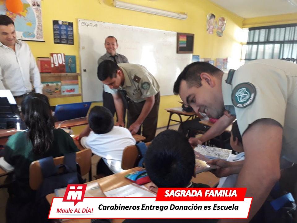 SAGRADA; FAMILIA Carabineros entrego importante donación a Escuela Rural