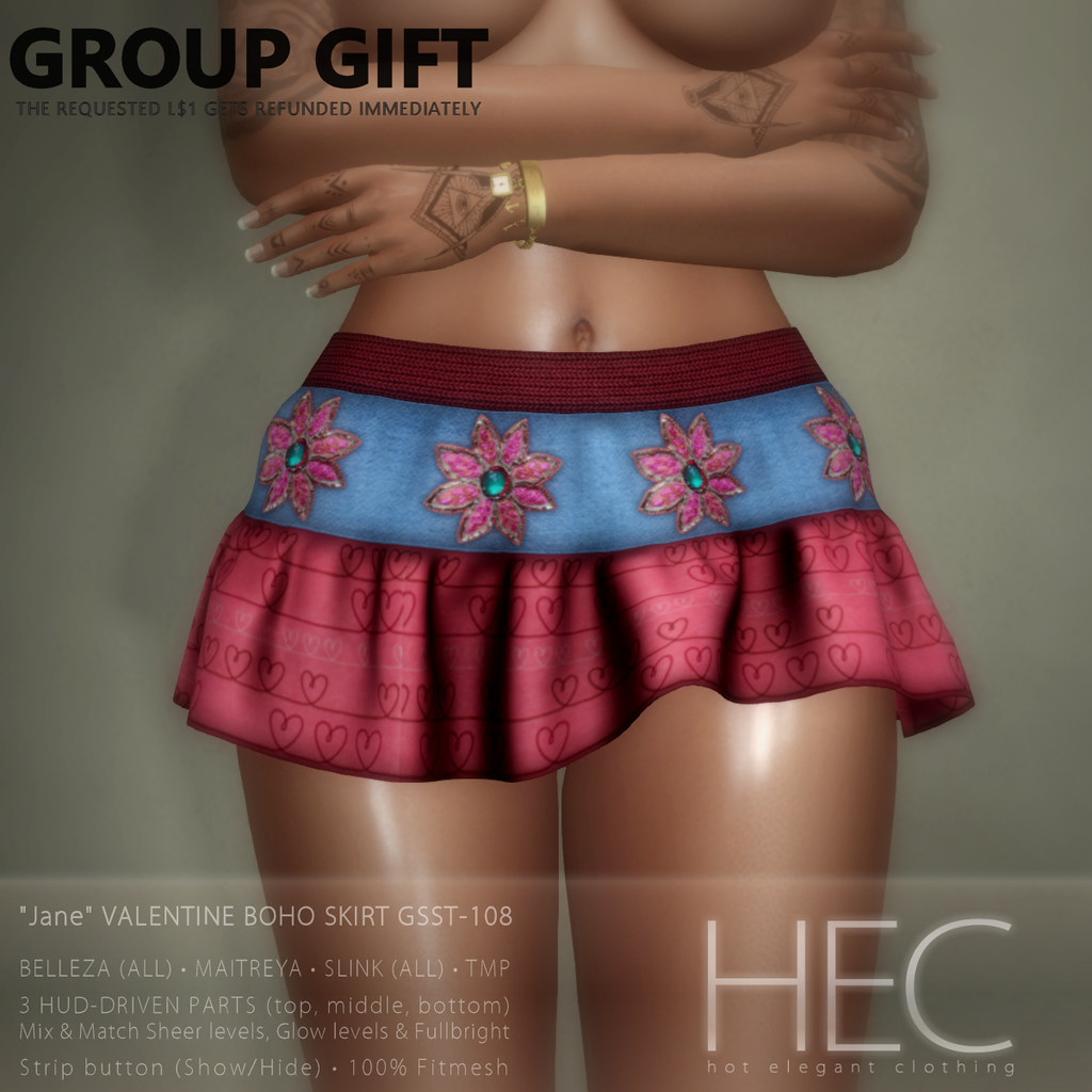 "HEC (GROUP GIFT) • ""Jane"" VALENTINE GIFT BOHO MINI SKIRT GSST-108"