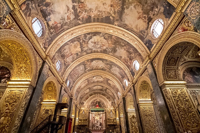 The nave of Saint John's Co-Cathedral, Valletta, Malta.