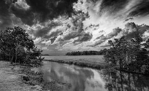 storm clouds thunderstorm blackwhite bw monochrome blanco y negro canarycreek greatmarsh wetlands delaware delawarebay