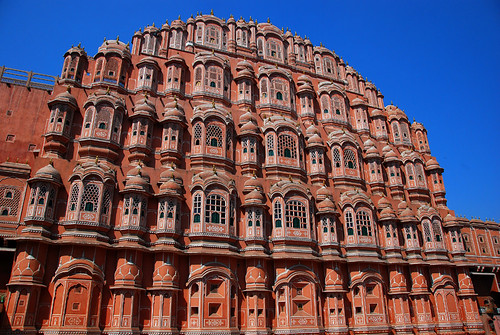 The pink Hawa Mahal, or Palace of Winds, is in Jaipur, India