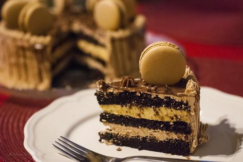Mocha chocolate cake with espresso macarons III
