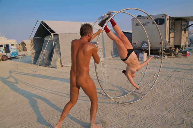 naturist aerial camp Gymnasium 0001 Burning Man, Black Rock City, NV, USA