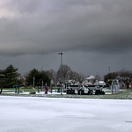 Grim weather over Ashton Park, Preston