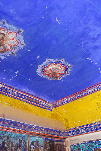 Painted ceiling of the Bundi Fort, India