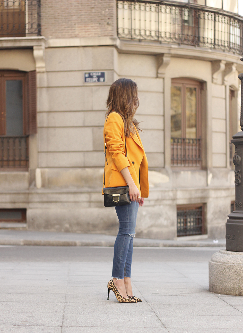 yellow blazer strippes ripped jeans givenchy bag leopard heels spring outfit 201803