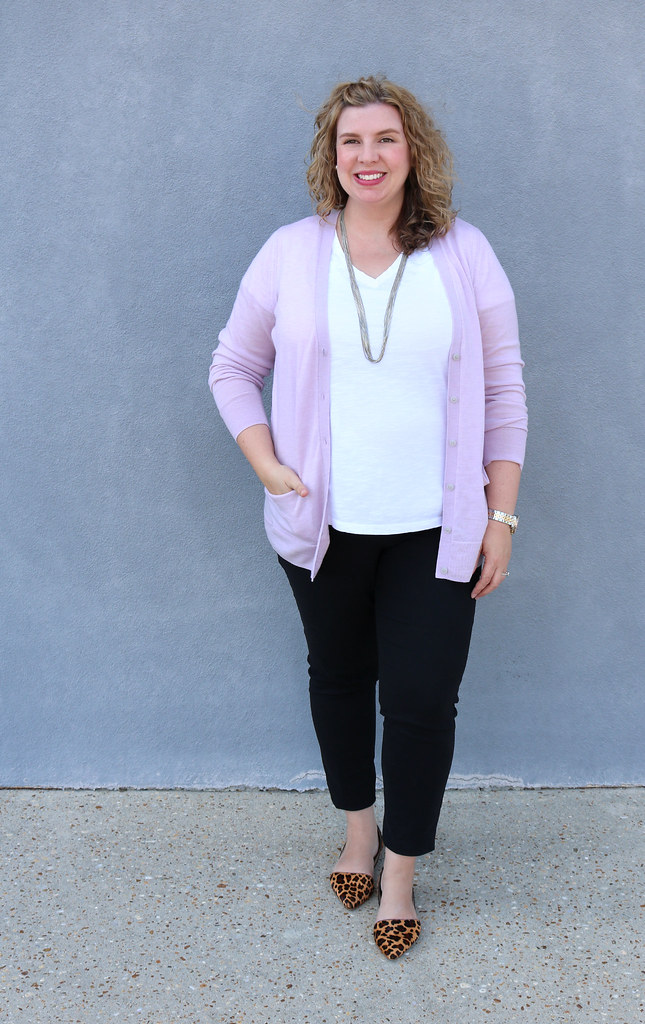 lilac cardigan, white tee, black pencil pants, leopard flats 1